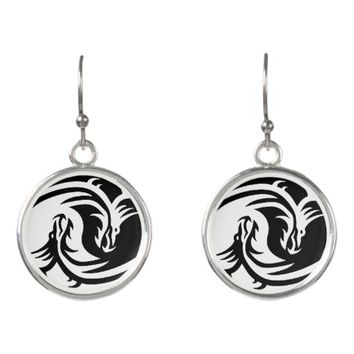 yin-yang dragons tribal pattern black and white earrings