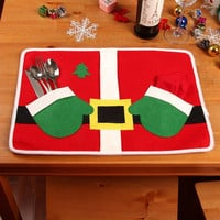 Plush Christmas Dinner Table Mat Cover For Christmas Dinner Decoration = 1946462404