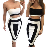 Women Two Piece Outfits Strapless Zipper Backless Sexy Party Dresses Black White Sleeveless High Waist Summer Dress Bodycon