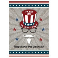 Independence Day Party Invitation - Hipster Uncle Sam July 4th