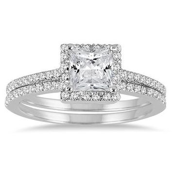 1 1/10 Carat Princess Cut Diamond Bridal Set in 14K White Gold
