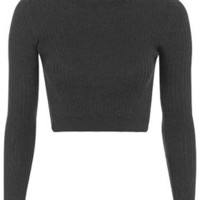 PETITE Ribbed Wool Blend Cropped Sweater - Charcoal