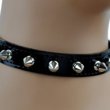 "Black Patent Leather Choker with 1/2"" Spikes Gothic Fetish Collar"