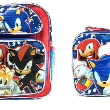 "Sonic The Hedgehog Tail, Shadow, Knuckles 16"" Blue School Backpack w/Lunch Bag"