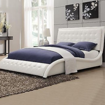 Upholstered Beds Modern Button Tufted  Leather like Upholstered Queen