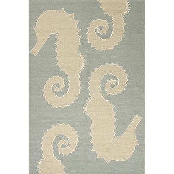Jaipur Rugs IndoorOutdoor Conversational Pattern Blue/Ivory Polypropylene Area Rug GD2