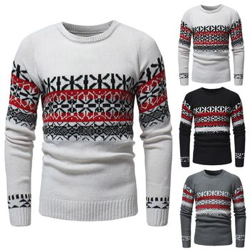 Men's Winter Pullover Knitted Cardigan Coat Print Sweater Jacket Outwear