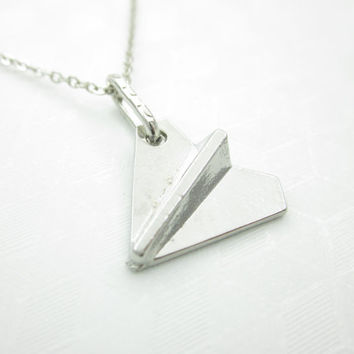 Paper Airplane Necklace, Paper Plane Charm Necklace, Silver Origami Airplane Necklace X051