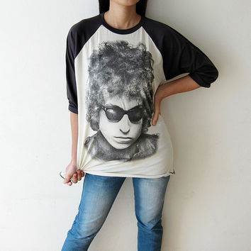 Bob Dylan Shirt T-Shirt Classic Country Folk Guitar Pop Rock Legend Baseball Tee Shirts Raglan Long Sleeve TShirts Size S