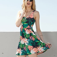 Tropical Floral Cutout Dress
