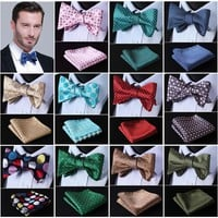 Polka Dot 100%Silk Jacquard Woven Men Butterfly Self Bow Tie BowTie Pocket Square Handkerchief Hanky Suit Set #D4