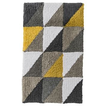 BATH RUG RE TRIANGLE YELLOW & GRAY