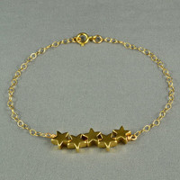 Cute Gold Star Bracelet, 14K Gold Filled Chain, Pretty, Simple, Everyday Wear Jewelry