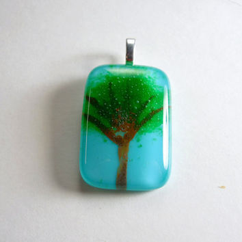 Art Glass - Frit and Paint Tree Pendant, Fused Glass Necklace, Choker Slider