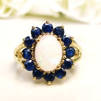 Vintage Opal & Blue Spinel Ring Alternative Halo Engagement Ring 1.41ct Opal Wedding Ring 10K Yellow Gold October Birthstone Ring Size 6.5