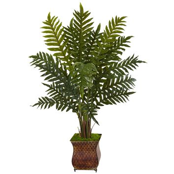 Artificial Plant -4 Foot Evergreen Plant in Metal Planter