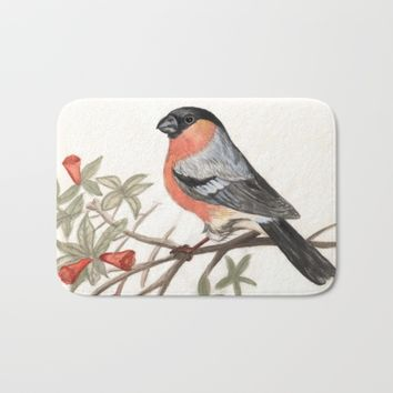 Eurasian bullfinch bird Bath Mat by Savousepate