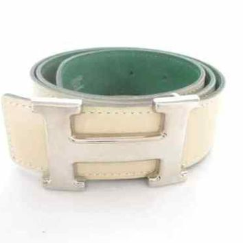 Auth HERMES H Belt Ivory Green Leather & Metallic Material Square A Belt