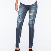 Almost Famous Premium Distressed Womens Skinny Jeans Dark Blast  In Sizes
