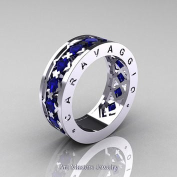 Caravaggio Mens Modern 14K White Gold Princess Blue Sapphire Wedding Band R313M-14WGBS