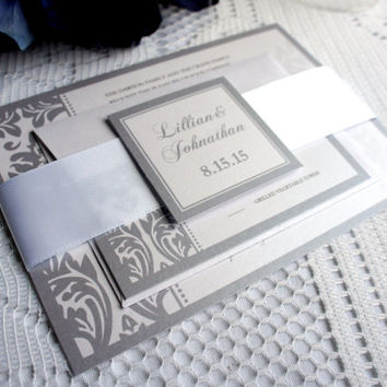 Silver Gray Damask Wedding Invitation, Gray Wedding Invitation, Silver Wedding Invitation, Belly Band, Damask Wedding Invites - DEPOSIT