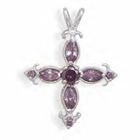 Marquise Purple Crystal Cross