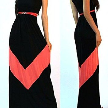 OURS Womens Casual Chevron Print Sleeveless Maxi Dress with Belt.