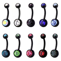 CrazyPiercing Lot of 10 Value Pack Assorted Stainless Steel Belly Button Ring Body Jewelry Piercing Ring BarBell