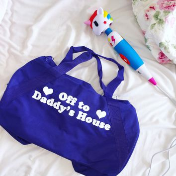 Off To Daddy's House Duffel Bag- Purple