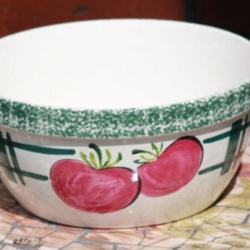 YSC Bowl White with Green trim with Fruit on side of it