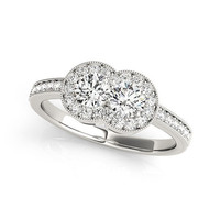 14K White Gold Two Stone Diamond Halo Ring (3/4 ct. tw.)