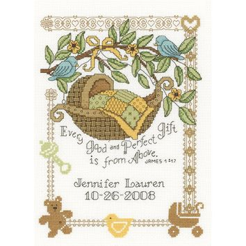 "Perfect Gift Birth Record Counted Cross Stitch Kit-7.5""X10"" 14 Count"