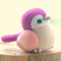 Needle felted bird doll, handmade bird figurine, Blushing bird collection - purple and pink color, home decor ornament, gift under 30