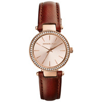 Michael Kors MK2353 Women's Petite Darci Rose Gold Dial Rose Gold Steel Brown Leather Strap Watch