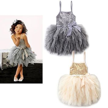 Summer girl Flower Girl Dress sequins Party Wedding Princess Tulle dress kids flower birthday clothes children children costumes