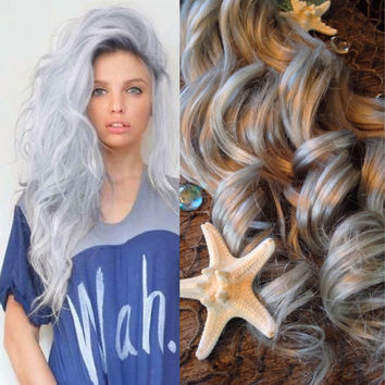 Hair Extensions, Opal Hair, Silver Hair, Grey Hair, Platinum Hair, Clip In Hair, Mermaid Hair, Full Set Hair Extensions, Super Thick