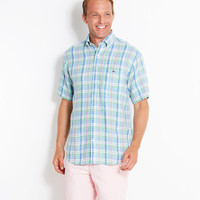 Short-Sleeve Veranda Linen Tucker Shirt