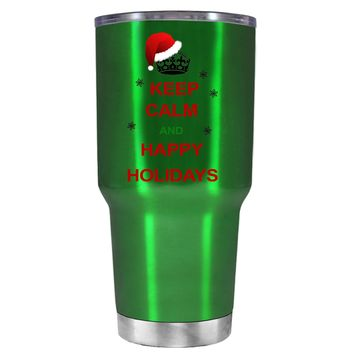 TREK Keep Calm and Happy Holidays on Translucent Green 30 oz Tumbler Cup