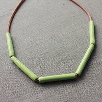 Handmade mint green ceramic necklace - green statement ceramic necklace