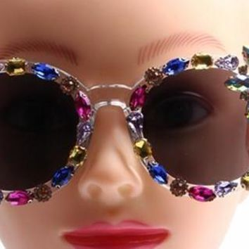 Multi-Colored Rainbow Crystal Embellished Party Sunglasses