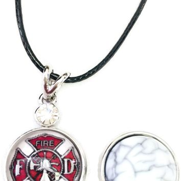"Fire Rescue Fire Department Shield Firefighter Thin Red Line Snap on 18"" Leather Rope Diamond Pendant Necklace W/ Extra 18MM - 20MM Snap Charm"