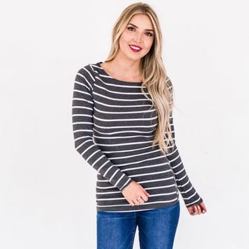 Jersey Striped Boatneck Layering Tops | Striped Long Sleeve Shirt