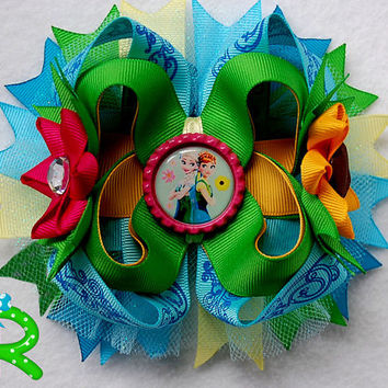 Elsa Frozen Fever hair bow, frozen hair bow ,ott bow , Disney Boutique bow, Elsa and anna layered Hair Bow , stacked Bow