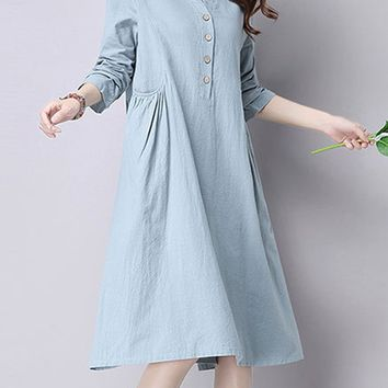 Streetstyle  Casual Plain Casual Cotton/Linen Shift Dress