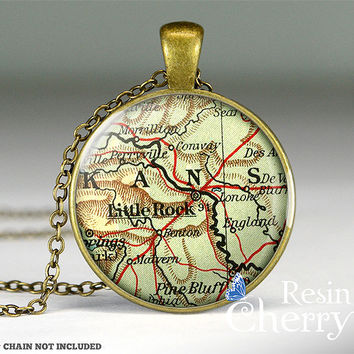 Little Rock map resin pendants, map pendant,Little Rock map photo charm,vintage map necklace- M1033CP