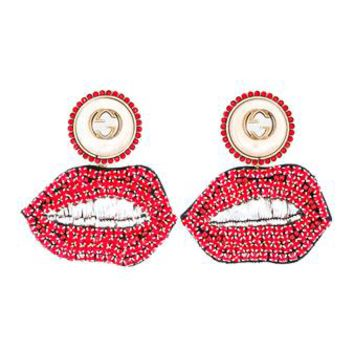 GUCCI | Crystal Mouth Earrings | Womenswear | Browns Fashion