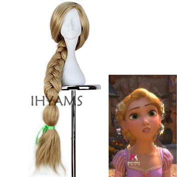 New Tangled Rapunzel Cosplay Wig Halloween Role Play Long Ponytail Cos Hair Adult Blonde Braid Synthetic Wig + Wig Cap