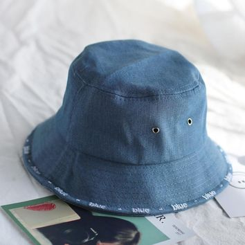 2018 Leisure Outdoor Cowboy Hole Do Old Fisherman Hat Men Women Bucket Cap Sun Hat Unisex Denim Blue Fashion For Summer Foldable