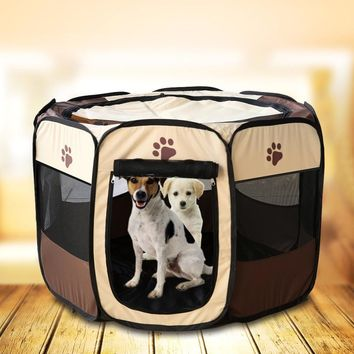 US warehouse Beathable Dog Puppy House Portable Folding Pet tent Dog House Dog Cage Cat Playpen Puppy Kennel Outdoor Supplies