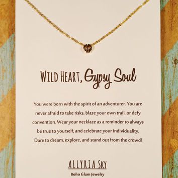 Dainty Gold Plated Skull Necklace and Card Set | Wild Heart, Gypsy Soul | Free Spirit Gift